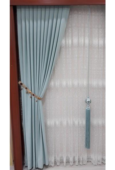 Taç Fon Perde Soft Kumaş Ekstraforlu Düz Dikiş - Mint Yeşili