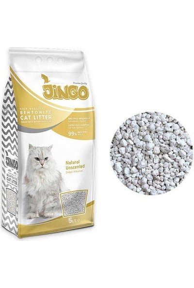 Jingo Naturel Bentonit Kedi Kumu Kalın Taneli 5 lt