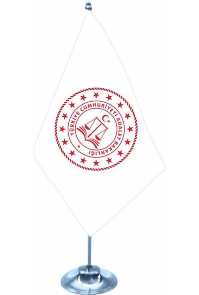 Gönder Bayrak Adalet Bakanlığı Yeni Logo Tekli Krom Direk Masa Bayrağı 15X22,5Cm