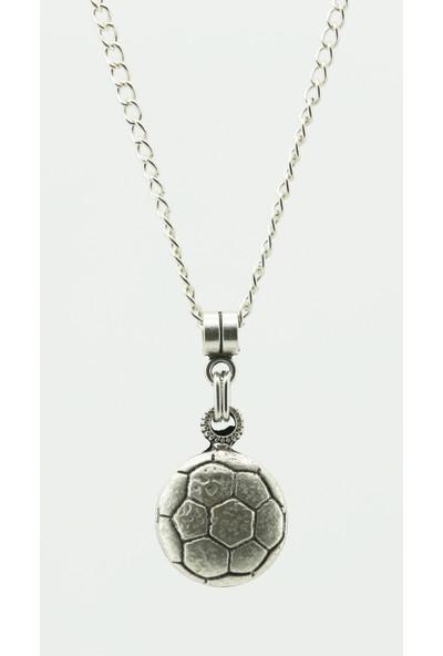 Labalaba Erkek Antik Gümüş Kaplama Futbol Topu Kolye