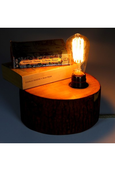 Goodbutwood Edison | Doğal Ağaçtan El Yapımı Masa Köşe Ofis İçin Rustik Edison Lamba