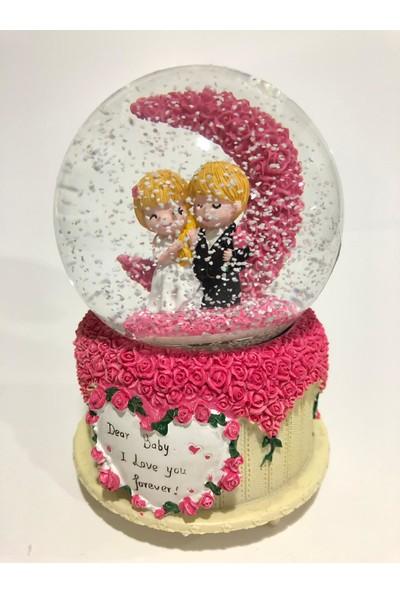 Bent Sevgili Yeni Evlenen Çift Kar Küresi Muzikli