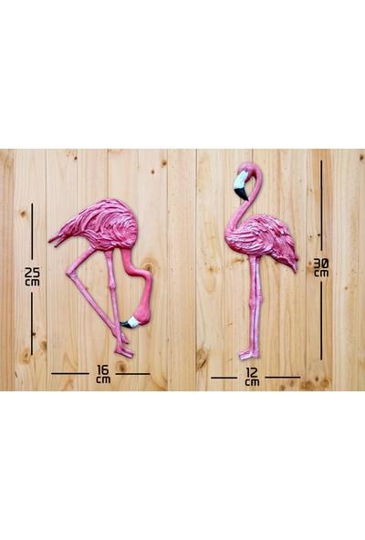 Cajuart Cajuart İkili Pembe Flamingolar Duvar Süsü Ev Duvar Biblo Aksesuar