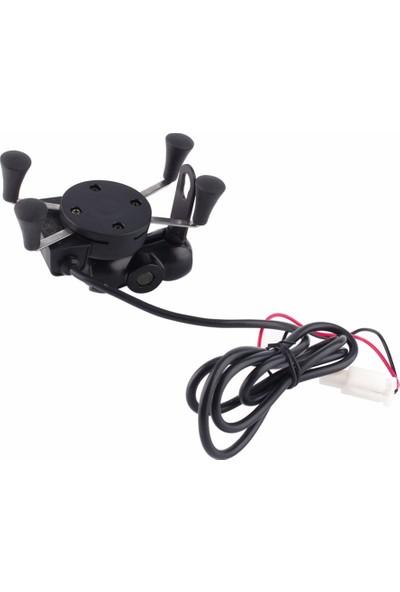 Prc Usb Şarj Soketli Evrensel Motosiklet Telefon Tutucu, Kıskaçlı, Metal Aparatlı Ayna Bağlantı 2085