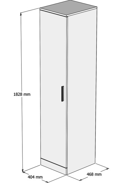 Bimossa K1035 Kapaklı Gardırop - Beyaz Ceviz