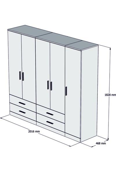 Bimossa K5425 5 Kapaklı 4 Çekmeceli Gardırop - Ceviz