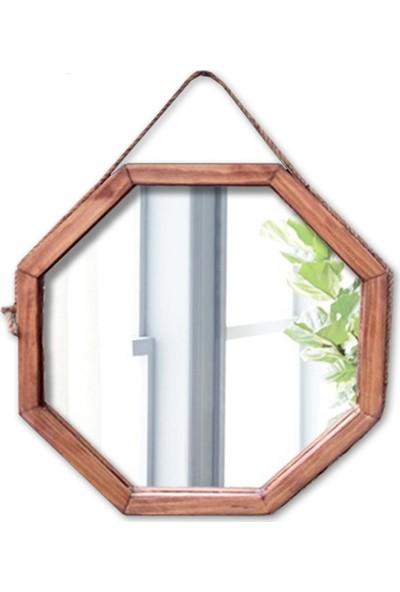 Tahta Dekor Halat Askılı Sekizgen Ayna