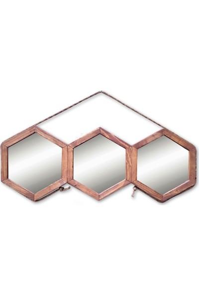 Tahta Dekor Halat Askılı 3'lü Petek Ayna