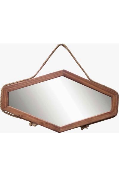 Tahta Dekor Halat Askılı Ahşap Ayna
