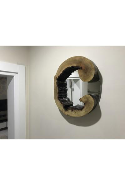 Uron Wood Doğal Ahşap Kütük Dekorotif Ayna
