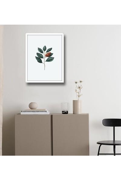 Dizayn House Beyaz Çerçeveli Tablo Magnolia Leaf