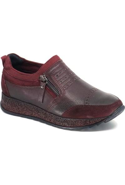 Forelli 29101 Kadın Bordo Deri Comfort Ayakkabı