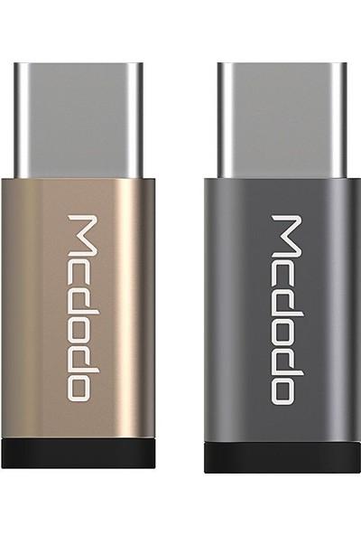 Mcdodo MC-OTG/215 Micro USB-Type-C Dönüştürücü Adaptör - Siyah