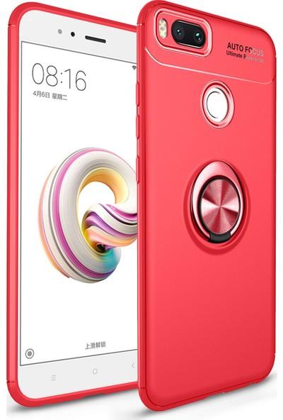 Alaca Xiaomi Mi 6 Kılıf Standlı Yüzüklü Mıknatıslı Kılıf + 9H Esnek Nano Cam Kırmızı