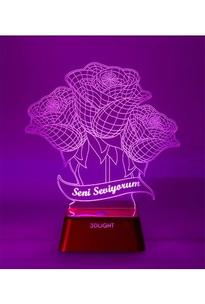3D Light 3 Boyutlu Çiçek Lamba