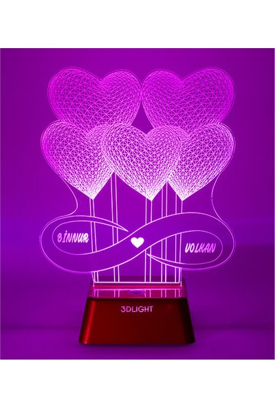 3D Light Kalpli Balon 3D Lamba