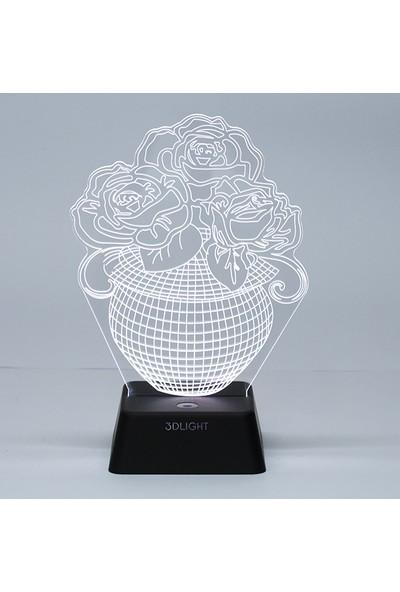 3D Light Saksılı Çiçek 3D Lamba