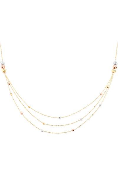 Myra Gold 3 Sıra Zincirli Altın Toplu Kolye (Znc0049)