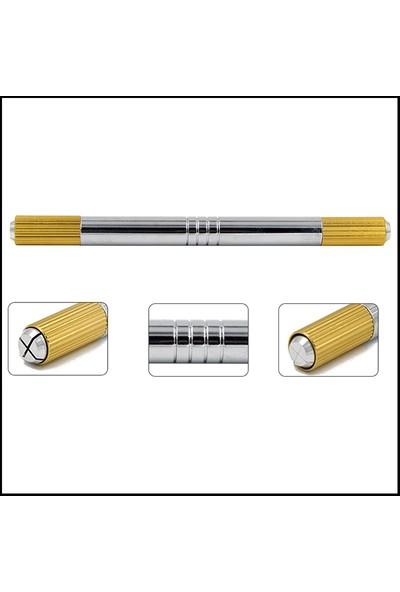 Ymr Microbladıng Roller Pudralama İğnesi 7 mm 10 Adet Çift Başlı Gümüş Sarı Kalem