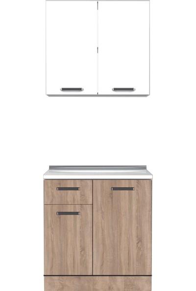 Pramo Mobilya 100 cm Sonomo - Beyaz Hazır Mutfak