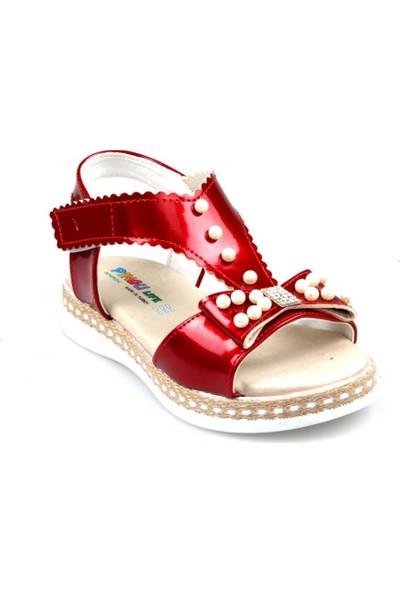 Pingu Kız Çocuk Ortapedik Kırmızı Günlük Sandalet