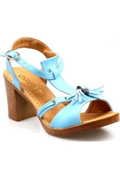 Miss Belinda Kadın Kısa Topuk Mavi Sandelet