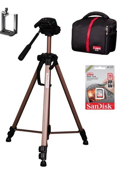 Canon Dslr Çanta Fotoğraf Makinesi İçin 147Cm Tripod Set Çanta+Sandisk Sd 16Gb