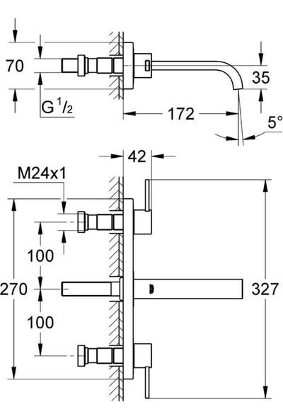 Grohe Allure 3 Delikli Duvardan Lavabo Bataryası S - Boyut - 20189000