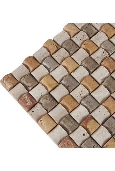 Markataş Özel Seri 1X10Cm Scabos Traverten Doğal Taş Hasır Mozaik