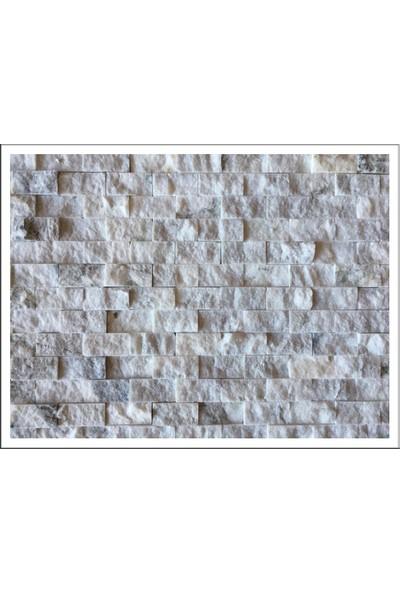 Markataş 2,5X5Cm White Mix Mermer Doğal Taş Patlatma Mozaik