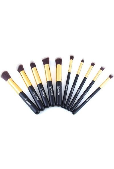 Ecogroup Vander 10'lu Profesyonel Yumuşak Makyaj Fırça Seti Siyah Dore Renk