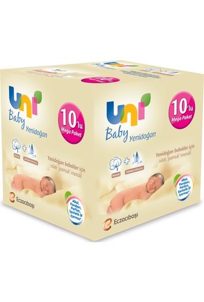 Uni Baby Yenidoğan Islak Pamuk Mendil 10'lu - 400 yaprak