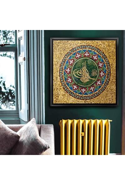 Dekorme Siyah Çerçeveli Osmanlı Tuğrasıı Motif Kanvas Tablo