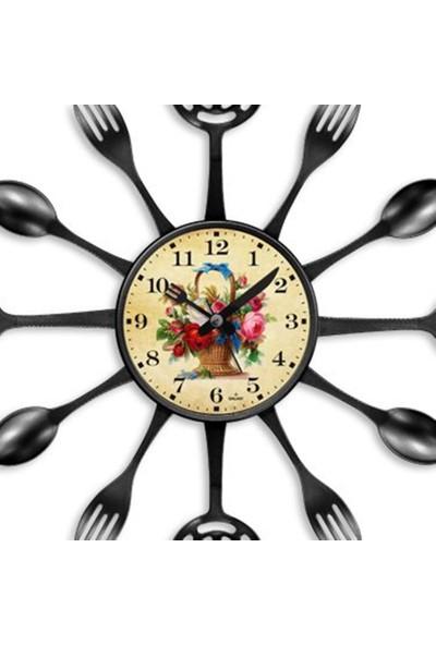 Clocktime By Cadran Flower 40 x 40 Çatal Kaşık Mutfak Saati CT122