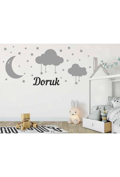Türk Reklam Bebek Odası Duvar Sticker Mavi Ay Bulut Yıldızlar Ve Gri Kişiye Özel İsim