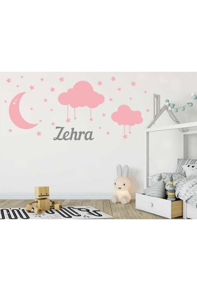 Türk Reklam Bebek Odası Duvar Sticker Pembe Ay Bulut Yıldızlar Ve Gri Kişiye Özel İsim