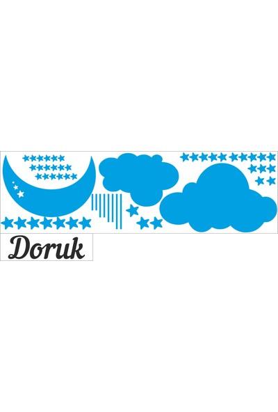 Türk Reklam Bebek Odası Duvar Sticker Turuncu Ay Bulut Yıldızlar Ve Gri Kişiye Özel İsim