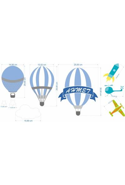 Türk Reklam İsme Özel Erkek Çocuk Bebek Odası Mavi Uçan Balon Duvar Sticker