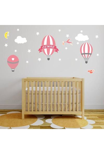 Türk Reklam İsme Özel Kız Çocuk Bebek Odası Pembe Uçan Balon Duvar Sticker
