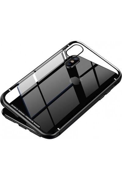Telefonaksesuarı Baseus Apple iPhone Xs Max Kılıf Manyetik Arkası Camlı Metalik 360 Derece