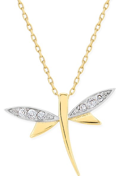 Myra Gold Beyaz Zirkon Taşlı Altın Yusufçuk Kolye (Kly1354)