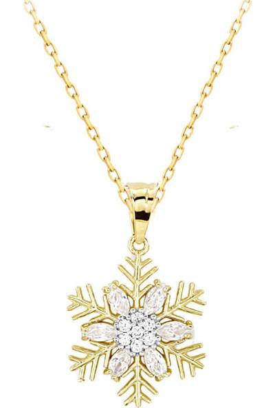Myra Gold Damla Kesim Beyaz Zirkon Taşlı Kar Tanesi Altın Kolye (Kly0890)