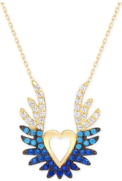 Myra Gold Mavi Ve Aqua Taşlı Kanat Detaylı Kalp Kolye (Kly2981)