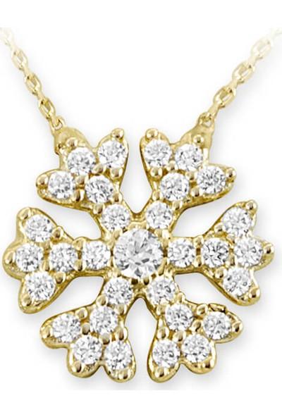 Myra Gold Minimal Tasarım Zirkon Taşlı Kar Tanesi Altın Kolye (Kly0661)