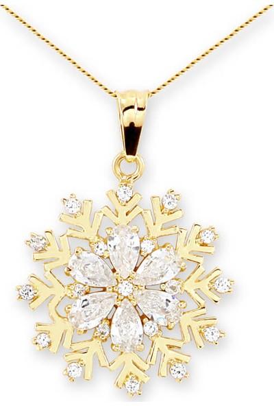 Myra Gold Ortası Beyaz Damla Taşlı Kar Tanesi Altın Kolye (Kly0888)
