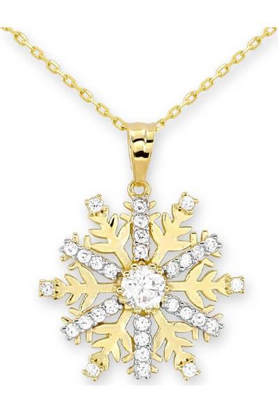 Myra Gold Ortası Beyaz Taşlı Büyük Boy Kar Tanesi Altın Kolye (Kly0869)