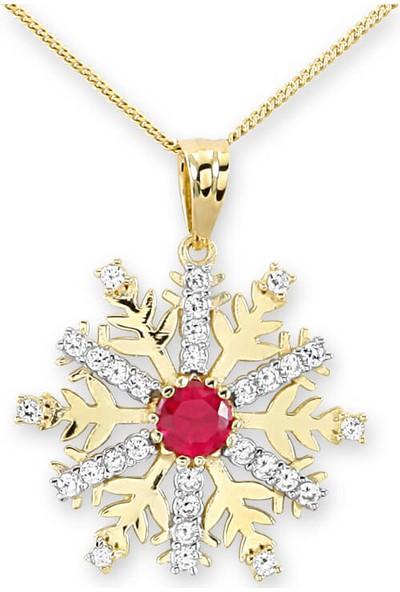 Myra Gold Ortası Kırmızı Zirkon Taşlı Kar Tanesi Kolye (Kly0898)