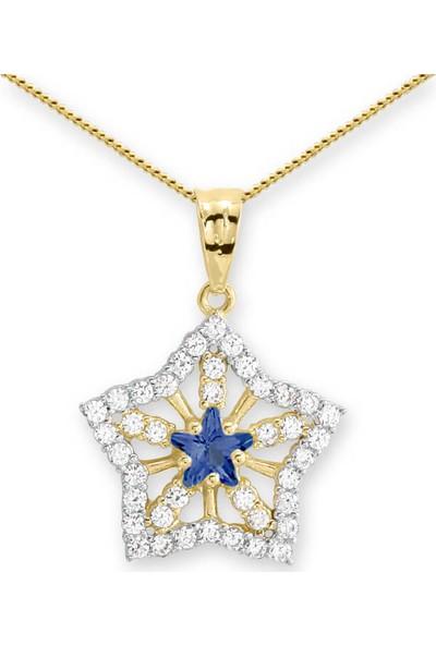 Myra Gold Ortası Mavi Yıldız Taşlı Kar Tanesi Altın Kolye (Kly0886)