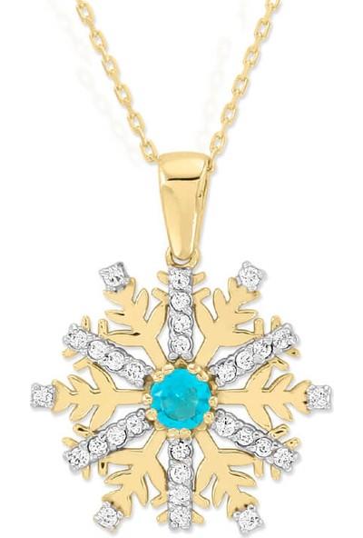 Myra Gold Ortası Turkuaz Altı Sıra Zirkon Taşlı Altın Kar Tanesi Kolye (Kly1347)