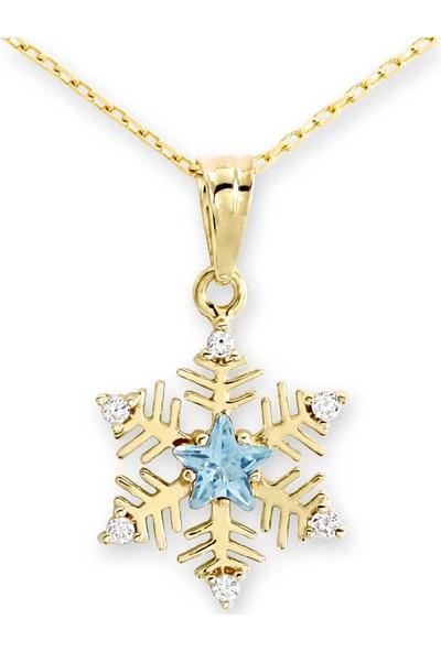 Myra Gold Ortası Turkuaz Yıldız Taşlı Kar Tanesi Altın Kolye (Kly0912)